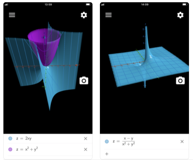 Screenshots of the GeoGebra AR app showing two different mathematical functions.
