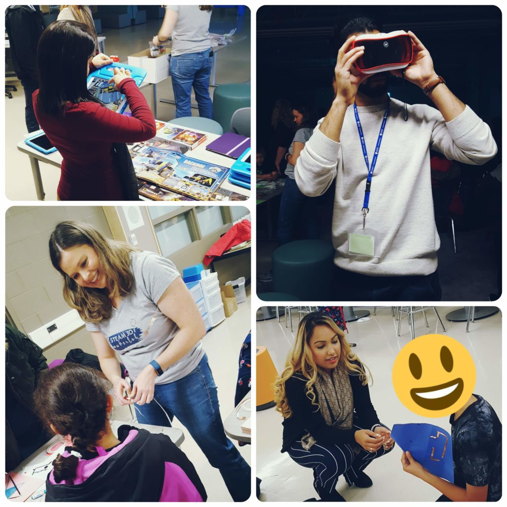 A collage of photos of the STEAM-3D Maker Lab crew engaging with parents and students at Northern Dancer Public School.