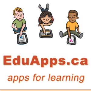 "Cartoon image of three children playing with tablet computers. The text ""EduApps.ca - Apps for Learning"" is displayed below."