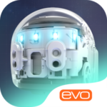 """The iOS and Google Play Store icon for the Ozobot Evo app. The image features a photo of the Ozobot Evo robot with the text """"Evo"""" underneath."""