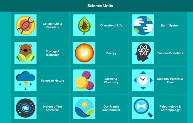 Screenshot from the BrainPOP learning platform, showcasing some of their science units available for use.