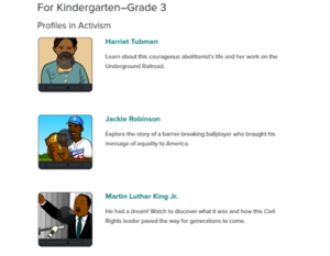 A snapshot of the BrainPOP website's anti-racist learning resources designed for students in kindergarten to grade 3.