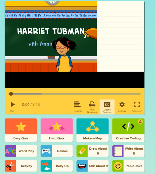A screenshot of the Harriet Tubman unit on the BrainPOP learning website.