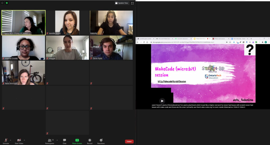 Screenshot of a Zoom meeting, depicting the session organizers and the title slide for the MakeCode for micro:bit session.