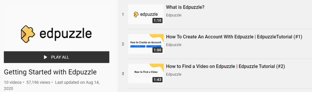 "A screenshot of the ""Getting Started"" playlist on EdPuzzle's YouTube channel."